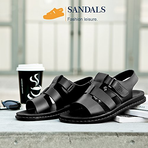 Sandals Adjustable Summer Toe Mens Nappa Fisherman Slippers Wear Black Non Breathable Beach Leather Camel Slip Open Sandal Ew4PqT