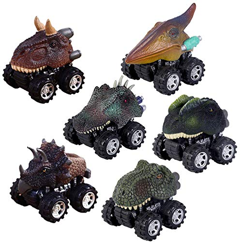 Pull Back Dinosaur Cars Set of 6, Dino Cars Toys with Big Tire Wheel for 3-14 Year Old Boys Girls Creative Gifts for Kids. (Dinosaur With Horn On Back Of Head)