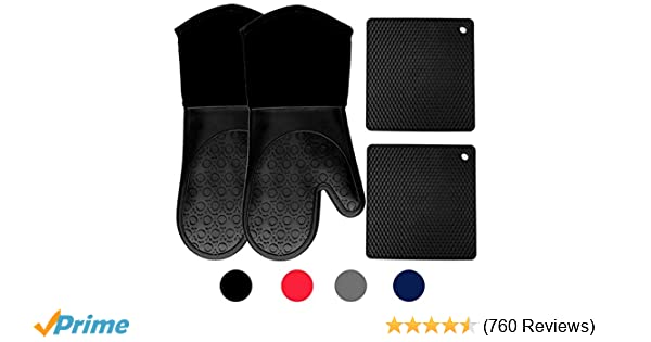 Homwe Silicone Oven Mitts and Potholders (4-Piece Sets), Kitchen Counter Safe Trivet Mats | Advanced Heat Resistant Oven Mitt, Non-Slip Textured Grip ...