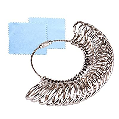KUUQA Size 1-13 Stainless Iron Finger Ring Sizing Measuring Tool Gauge Ring Sizer Set, 27 Pieces Circle Models with 2 Piece Jewelry Polishing Cloth by KUUQA