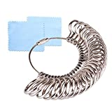 KUUQA Size 1-13 Stainless Iron Finger Ring Sizing Measuring Tool Gauge Ring Sizer Set, 27 Pieces Circle Models with 2 Piece Jewelry Polishing Cloth