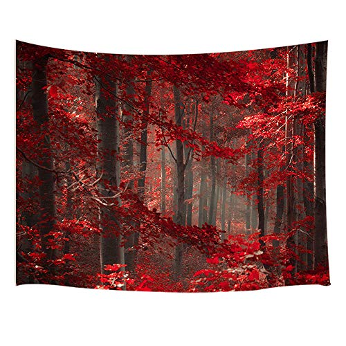 - JAWO Natural Landscape Decor Tapestry Wall Hanging, Autumn Fall Maple Forest with Red Leaves, Polyester Fabric Wall Tapestry for Home Living Room Bedroom Dorm Decor 80W X 60L Inches00