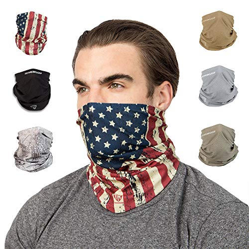 Terra Kuda Face Clothing Neck Gaiter Mask - Non Slip Light Breathable for Sun Wind Dust Bandana Balaclava (Old Glory Flag)