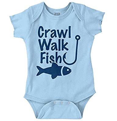 Brisco Brands Crawl Walk Fish Funny Fishing New Parents Gifts Cute Baby Romper Bodysuit