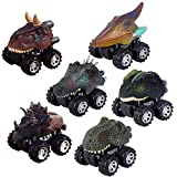 Pull Back Dinosaur Cars Set of 6, Dino Cars Toys with Big Tire Wheel for 3-14 Year Old Boys Girls Creative Gifts for Kids.