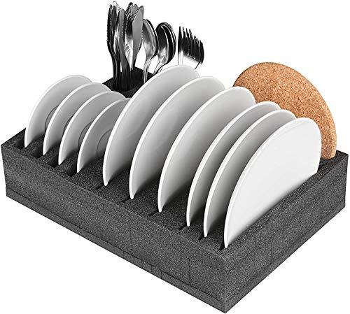 518F LVvN2L SCHAUMEX® Camping Set - Tellerhalter und Besteckhalter mit Platz für 12 Teller + Tassenhalter XL für Platz bis zu 8…