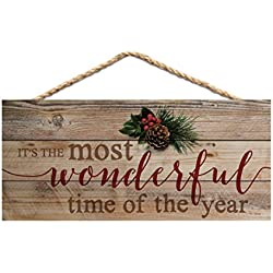 P. GRAHAM DUNN Wonderful Time of Year Holly Natural 10 x 4.5 Wood Christmas Wall Hanging Plaque Sign