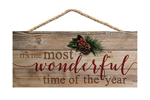(P. GRAHAM DUNN Wonderful Time of Year Holly Natural 10 x 4.5 Wood Christmas Wall Hanging Plaque Sign )