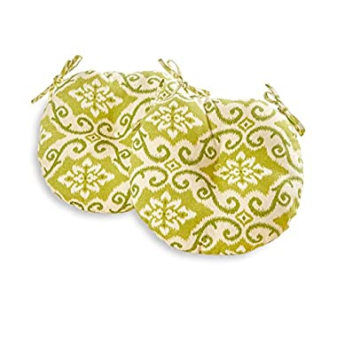 Greendale Home Fashions Round Indoor/Outdoor Bistro Chair Cushion, 18-Inch, Green Ikat, Set of 2