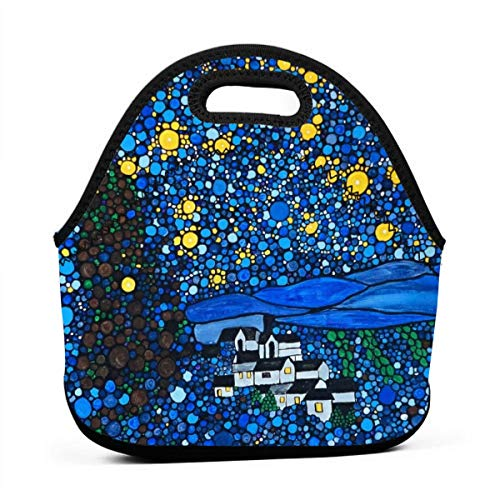 NiYoung Lunch Bag Gogh Starry Night Insulated Reusable Lunch Box Portable Lunch Tote Bag Meal Bag Ice Pack for Kids Boys Girls Adult Men (Best The Starry Night Friend Jewelry Foods)