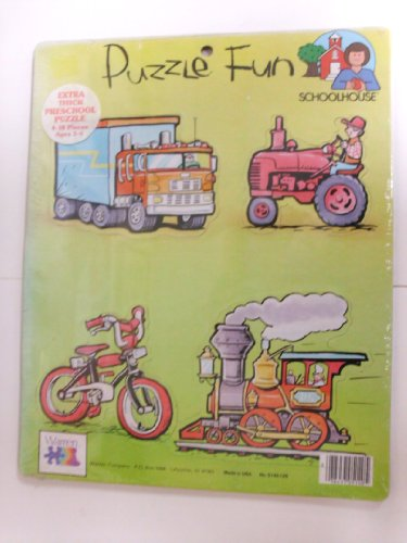 Puzzle Fun - Extra-Thick Puzzle - Warren Co. - 4 pieces - Truck / Tractor / Bicycle / Train Engine