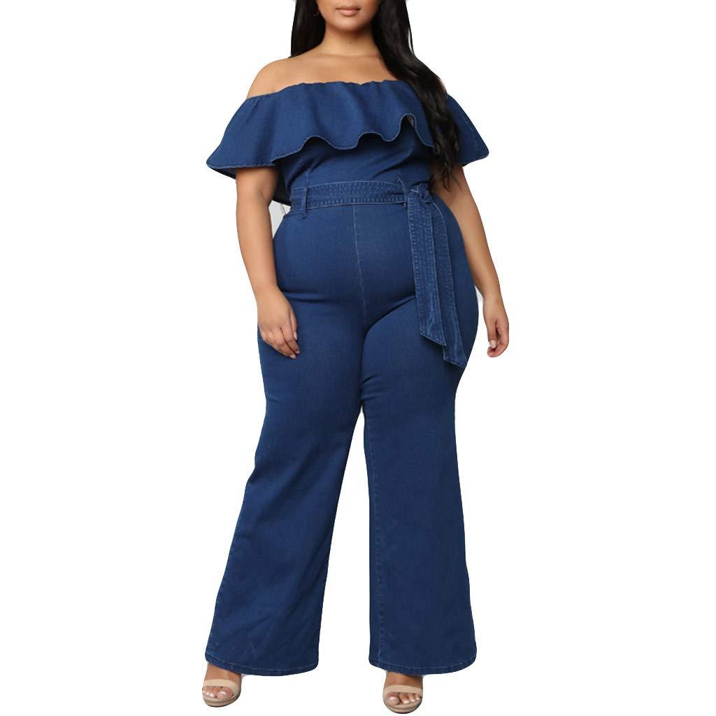Ximandi Women's Summer Plus Size Ruffles Off Shoulder Sleeveless Elastic Waist Casual Wide Leg Jumpsuit Rompers