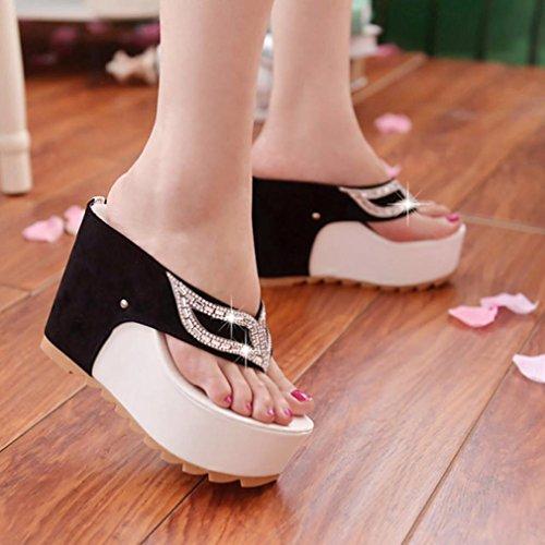 Sandalias para Mujer, RETUROM Zapatos planos de las sandalias de los flips-flopes de los Rhinestones del verano de las nuevas mujeres Blanco