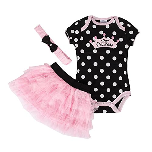 Le SSara Baby Girl Black Princess Romper Baby Bodysuit Costume Outfit 18-24 Months