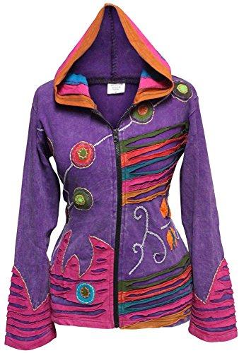 Shopoholic Grunge Emo gótico de Hippie para mujer, diseño de chaqueta con capucha de algodón, diseño retro morado
