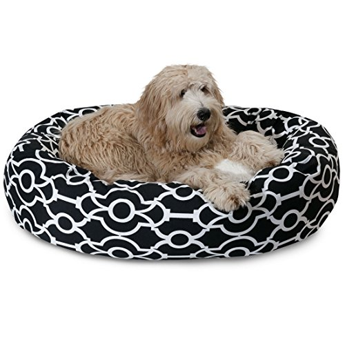 1 Piece Black Ink Printed Large 40 Inches Oval Shape Bolster Donut Pet Bed, Dark Black White Sherpa Bagel Foam Nest Bedding for Big Dog, Removable Cover Waterproof Soft, Faux Polyester