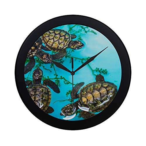 Modern Simple Month Old Sea Turtle Floating In A Blue Container Pattern Wall Clock Indoor Non-ticking Silent Quartz Quiet Sweep Movement Wall Clcok For Office,bathroom,livingroom Decorative 9.65 ()