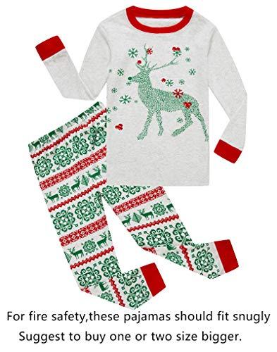 Family Feeling Baby Girls Boys Long Sleeve Christmas Pajamas Sets 100% Cotton Pyjamas Toddler Infant Kids 18-24 Months Reindeer ()