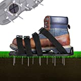 TACKLIFE Lawn Shoes, Upgraded Stiffener Sole Designed for 2019, 4 Aluminum Alloy Buckles Lawn Sandals with 4 Adjustable Straps That Fit All, Aerating for Your Lawn or Yard, 28 Nails Included