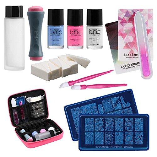 Bundle Monster Hot Pink Case Deluxe Nail Stamping Kit Series Floral Fame Buy Online In Uae