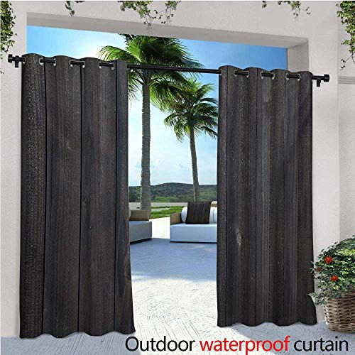 Dark Grey Outdoor- Free Standing Outdoor Privacy Curtain Wood Fence Texture Image Rough Rustic Weathered Surface Timber Oak Planks for Front Porch Covered Patio Gazebo Dock Beach Home W72 x L96 DAR
