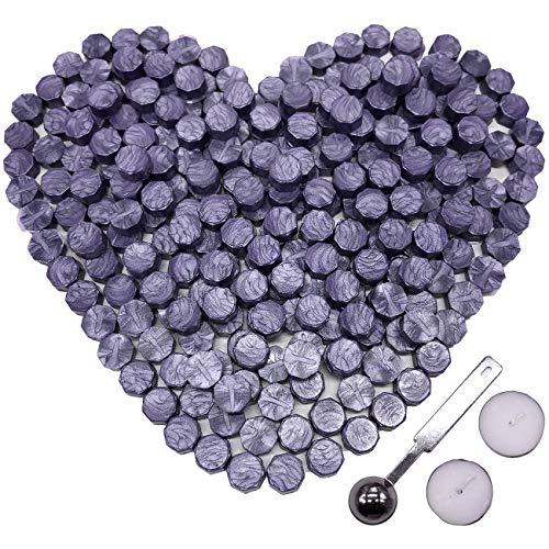 Botokon Purple Sealing Wax, 150 Pieces Octagon Envelope Sealing Wax Sticks Kit a Wax Melting Spoon 2 Pieces Candles Seal Wax Stamp (Purple Sealing Wax)