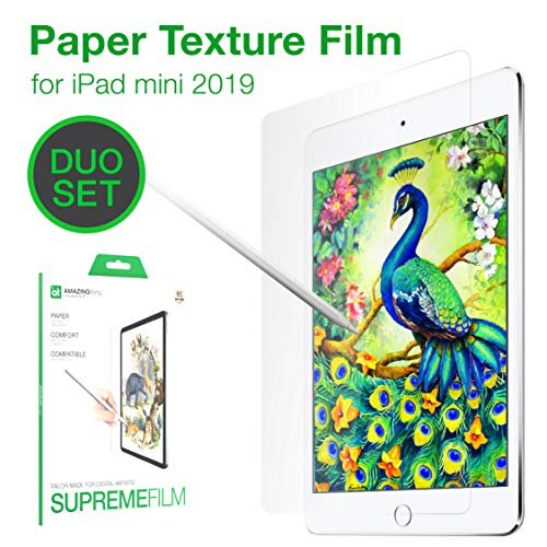 Ipad Screen Protector Compatible with Ipad Mini 5,Screen Protector Paperlike,Apple Pencil Compatible,Anti Glare,Scratch Resistant, High Touch Sensitivity Tablet Film, 2 Pack (Best Anti Glare Screen Protector For Ipad Mini)