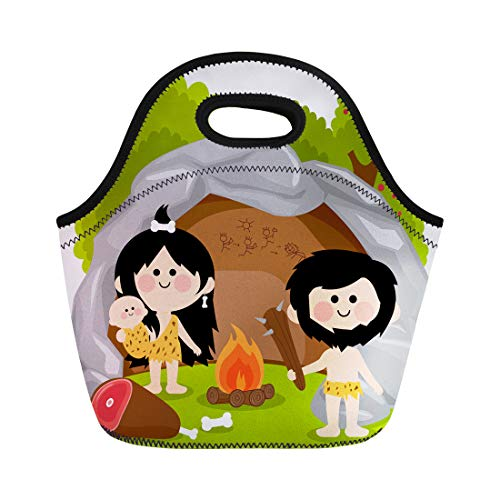 Semtomn Neoprene Lunch Tote Bag Caveman Cavemen Family in Stone Cave Fire Man Age Reusable Cooler Bags Insulated Thermal Picnic Handbag for Travel,School,Outdoors,Work]()