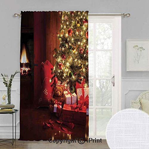 (SoSung Christmas Extra Wide Chiffon Sheer Curtain,Xmas Scene with Decorated Luminous Tree and Gifts by The Fireplace Artful Image,for Large Window/Sliding Glass Door/Patio Door,100x108inch,Red Yellow)