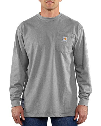 Carhartt Men's Flame Resistant Force Cotton Long Sleeve T-Shirt,Light Gray,X-Large from Carhartt