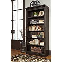 Ashley Townser Collection H636-17 75 Tall Bookcase with Adjustable Shelves and Plank Back and Pine Solids Construction in Greyish Brown