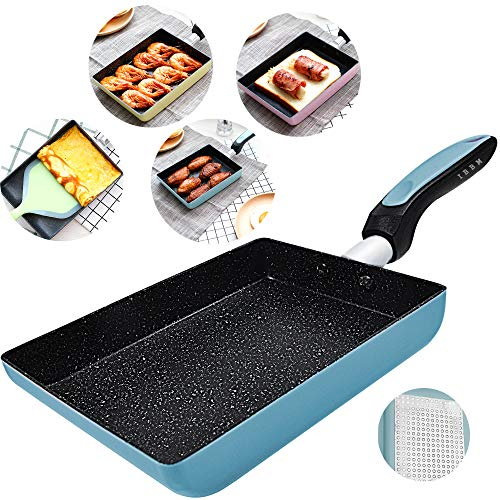 Tamagoyaki Japanese Omelette Pan/Egg Pan - Non-stick Coating - Rectangle Frying Pan Mini Frying Pan - Blue