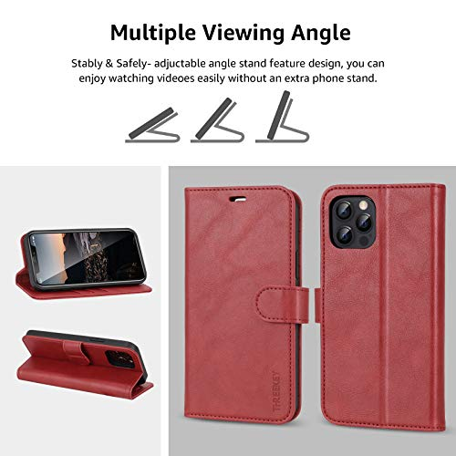 iPhone Wallet Case for iPhone 12/ iPhone 12 Pro Case Cover, [2 Pieces Glass Screen Protector Included], PU Leather Flip Cover with Card Slot Magnetic, Stand Case for iPhone 12 (6.1 Inch), Red