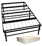 DuraBed Steel Foundation & Frame-in-One Mattress Support System Foldable Bed Frame with Decorative Bed Skirt, Twin, Ivory