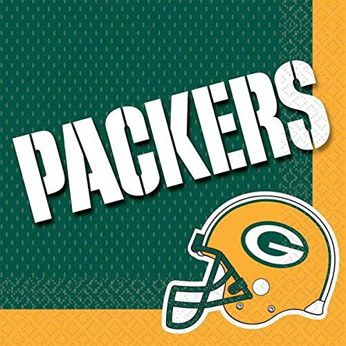 Amscan NFL Green Bay Packers Luncheon Napkins (16 Pack) - Party Supplies