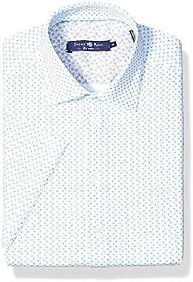 Stone Rose Mens Cotton Knit Geometric Print Short Sleeve Shirt