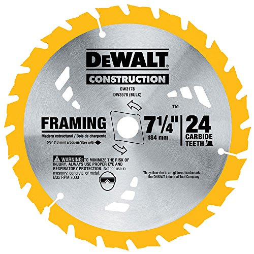 DEWALT DW3178 Series 20 7-1/4-Inch 24 Tooth ATB Thin Kerf Framing Saw Blade with 5/8-Inch and Diamond Knockout Arbor - Construction Blade