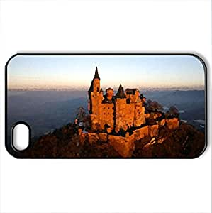 Hohenzollern castle - Case Cover for iPhone 4 and 4s (Ancient Series, Watercolor style, Black)