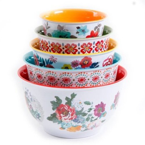 The Pioneer Woman 10-Piece Nesting Mixing Serving Bowl Set features Unique Vibrant Colors by The Pioneer Woman
