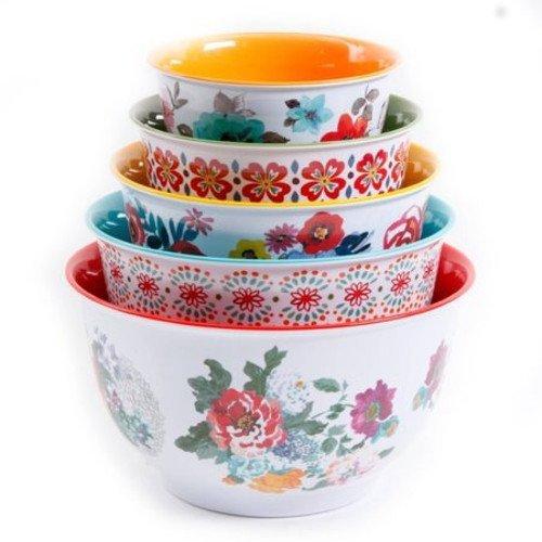 Serving Bowl Set (The Pioneer Woman 10-Piece Nesting Mixing Serving Bowl Set features Unique Vibrant Colors)