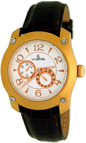 Le Chateau Men's Captiva Dual Dial Automatic Watch with Brown Leather Strap ()