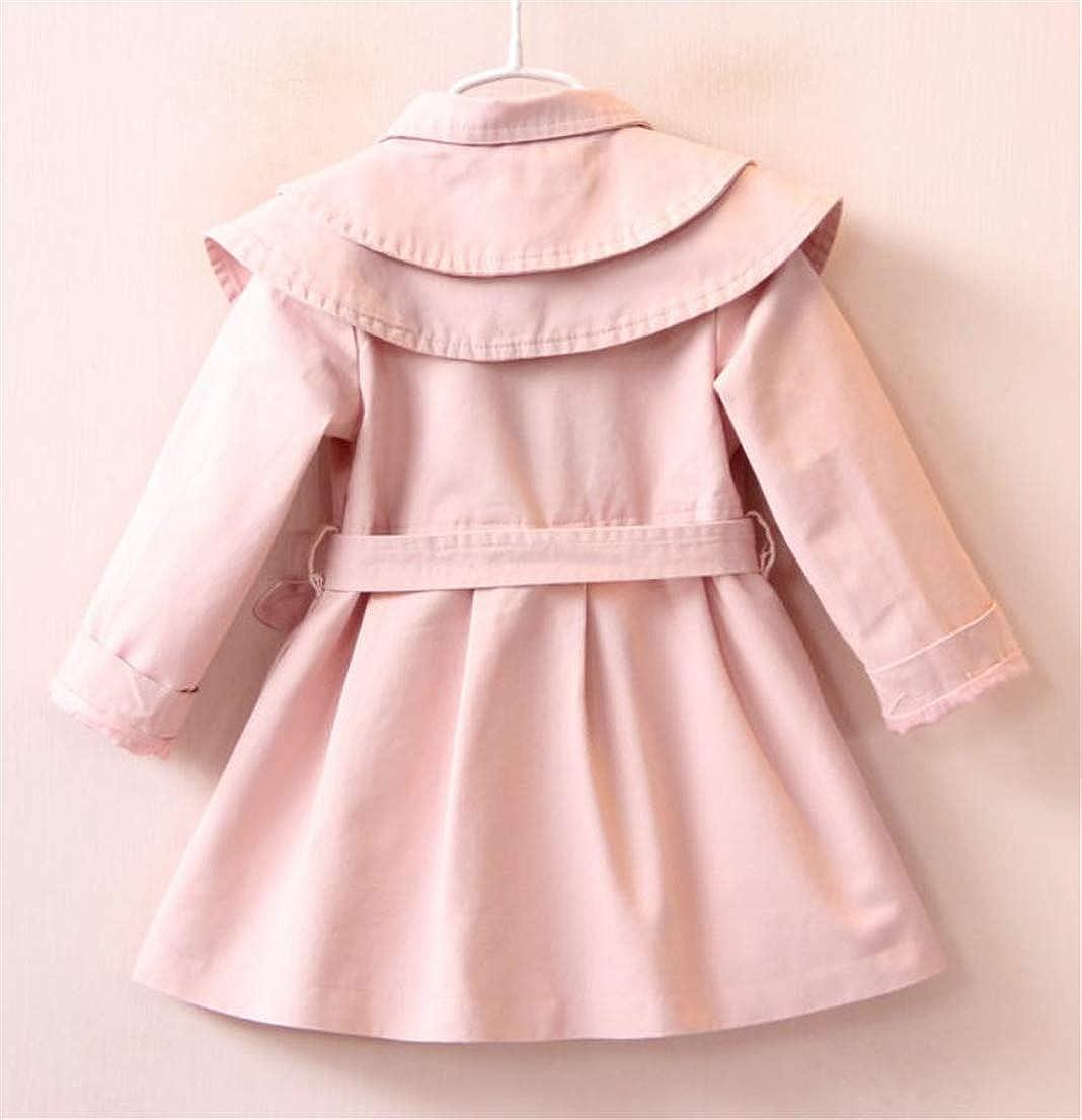 JSY Girls Double Breasted Belt Cozy Outerwear Children Trench Coat