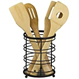 Home Basics Wire Collection Durable Steel Cutlery Holder with Mesh Bottom and Non-Skid Feet, Free Standing, Black
