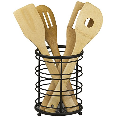 (Home Basics Chrome Wire Collection Cutlery Holder, Black)