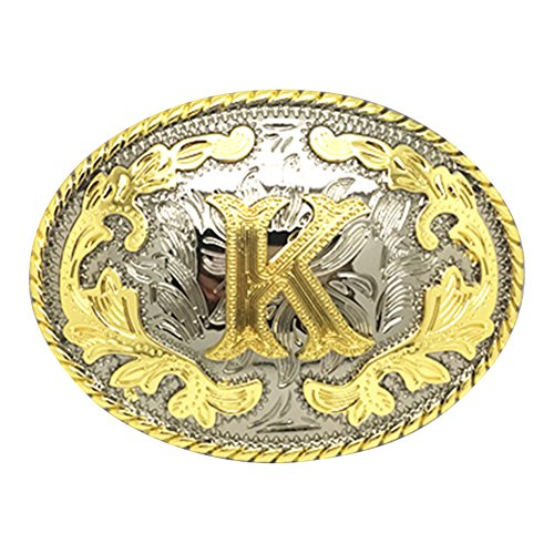 Western Belt Buckle Initial Letters ABCDEFG to Y-Cowboy Rodeo Gold Large Belt Buckle for Men and Women (K)