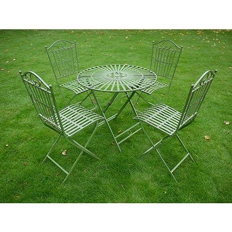 Metal verde antiguo Bistro mesa y silla de conjunto muebles ...