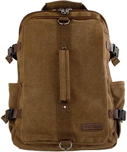 Montera Vintage Canvas Backpack - Heavy Duty Casual Daypack Rucksack Best For Travel