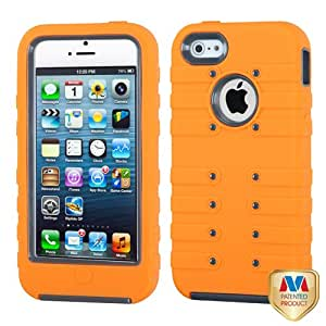 MYBAT Natural Grey/Orange TUFF eNUFF Hybrid Phone Protector Cover for APPLE iPhone 5
