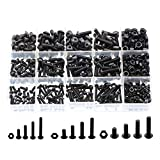 VAPKER 450 PCS Button Head Screw M3 M4 M5 Hex Socket Head Cap Screws Bolts Nuts Assortment Kit 10.9 Grade Black Oxide Finish Alloy Steel with 3 Mini Screwdriver