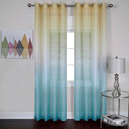 Rainbows and Sunshine Ombre Sheer Window Curtain Panel (52